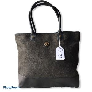 Tory Burch Jaden Gray Wool Flannel Leather Tote